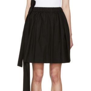 Black Poplin Bow Miniskirt